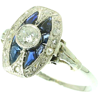 Art Deco Sapphire and Diamond Ring ca.1920