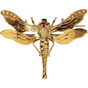 Victorian Opal and Gold Dragonfly Brooch ca.1890