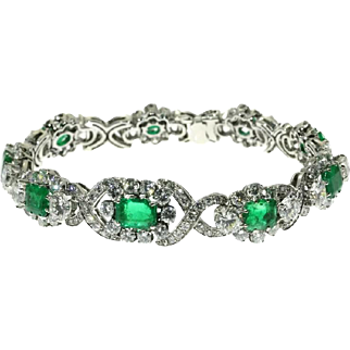 Colombian Emerald and Diamond Bracelet ca.1950