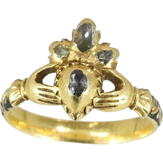 Antique Enamel Hand Crown Ring 17th Century