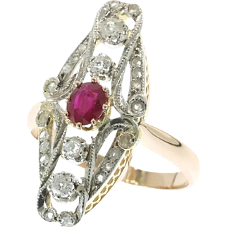 Belle Epoque Ruby and Diamond Ring ca.1910