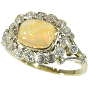 Fire Opal and Diamond Ring ca.1920
