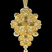 Antique Filigree Gold Cross Pendant France ca.1809