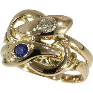 Sapphire and Diamond Snake Ring ca.1890