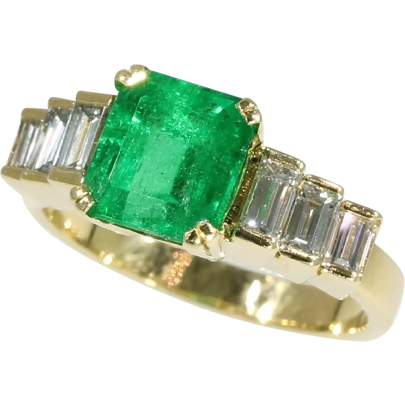 Colombian Emerald and Diamond Ring c 1980 from adin on Ruby Lane