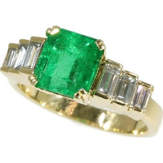 estate emerald ring baguette 18k