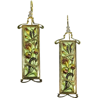 Art Nouveau Enamel Plique A Jour Dangle Earrings c.1900