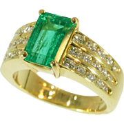 Estate diamond emerald 18K yellow gold engagement ring by Kutchinsky