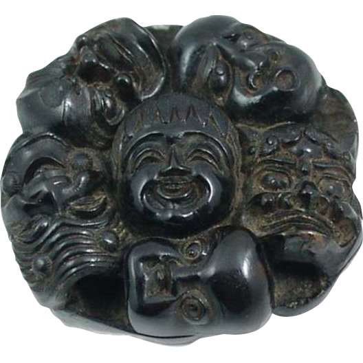 Antique Victorian Pressed Horn Mask Group Netsuke Slide - Meiji Period