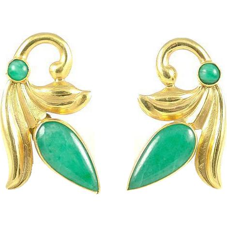Art Deco Vintage Jade 20k Gold Earrings