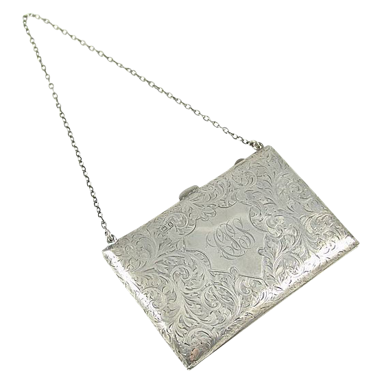 Lady's Antique Art Nouveau Sterling Silver Calling Card Case / Carnet de Bal
