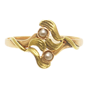 Art Nouveau 18K Yellow and Rose Gold Pearl Ring