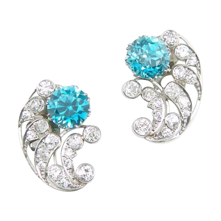 Vintage Art Deco Diamond Blue Zircon Platinum Earrings