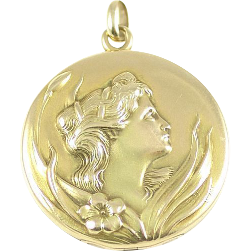 Antique Art Nouveau 14k Gold Maiden Flower Locket - A Beauty in Her Garden