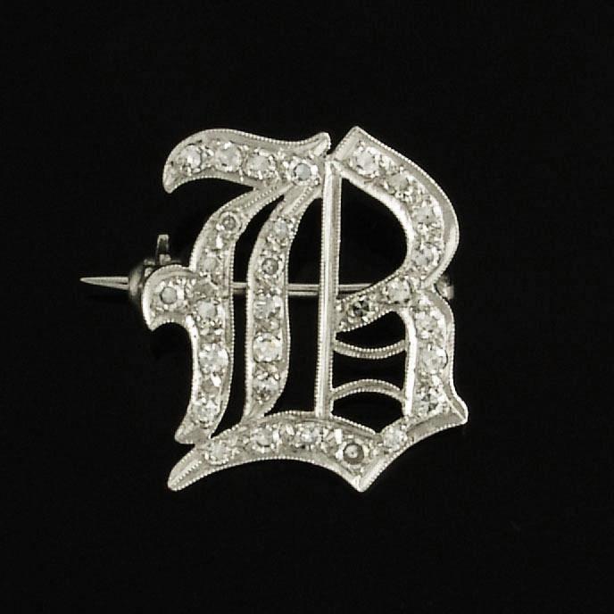 Vintage Diamond 14k White Gold Letter B Monogram Initial