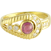 Estate Ruby Diamond 14k Gold Ring