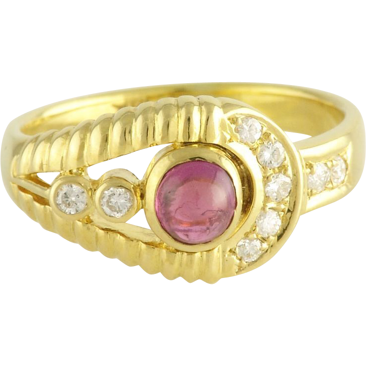 Estate Ruby Diamond 14k Gold Ring