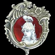 Antique Art Nouveau Figural Sterling Silver Enamel Miniature Portrait Figural Frame Brooch Pendant