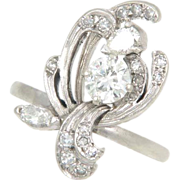 Vintage Fifties Diamond 14k White Gold Figural Floral Flower Cocktail Ring