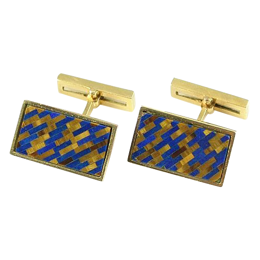 Vintage Chaumet French 18k Gold Lapis Tigers Eye Inlaid Mosaic Cufflinks
