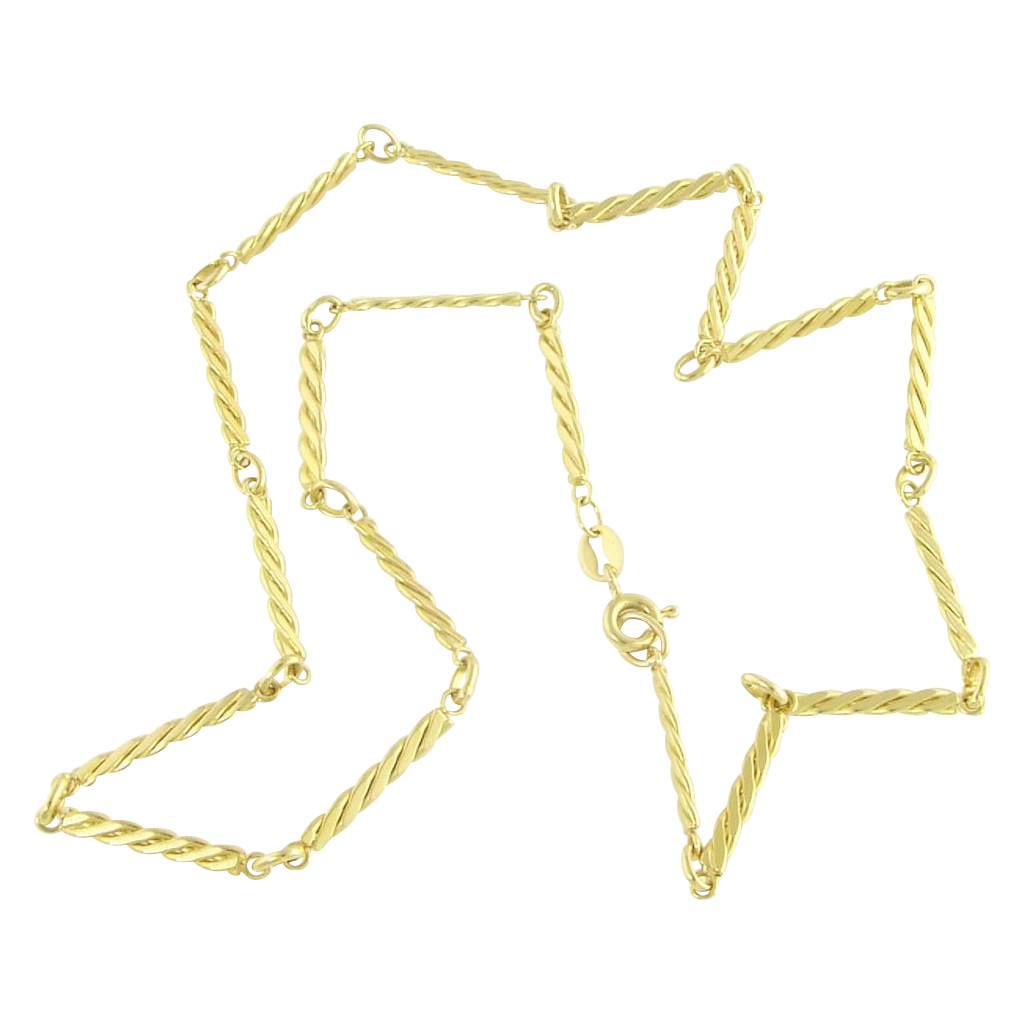 Vintage 18k Gold Twisted Link Chain Necklace