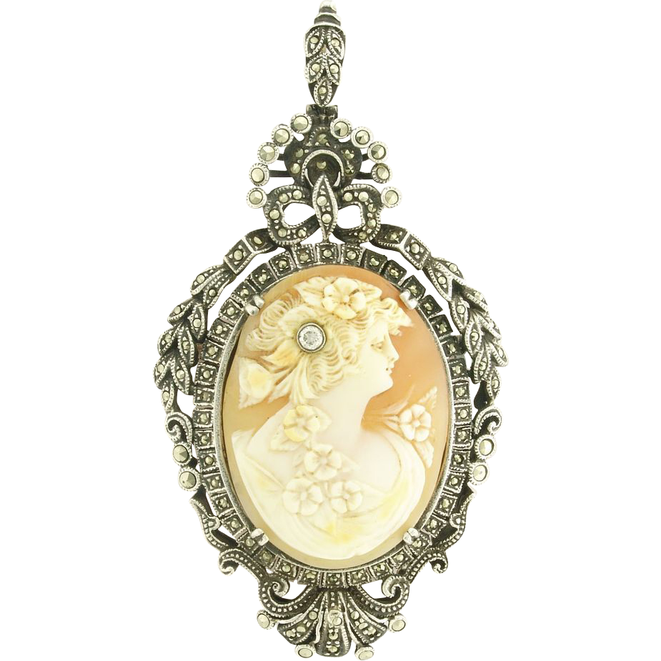 Grand Art Deco Diamond Set Cameo in Sterling Silver and Marcasites