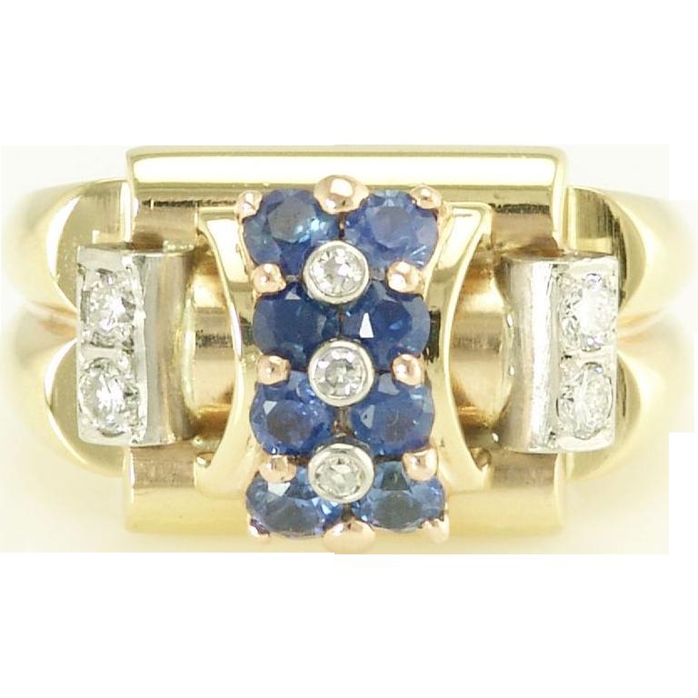 Sophisticated Retro Architectural  Sapphire Diamond Ring