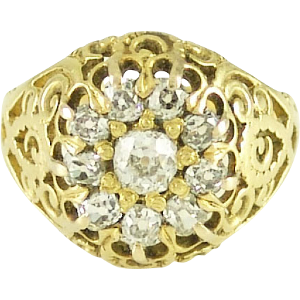 Charming Antique Victorian Mine Cut Diamond and 14K Yellow Gold Filigree Ring