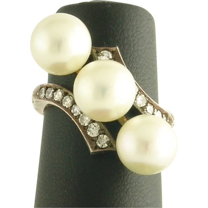 Unusual Vintage Pearl and Diamond Ring in 14k Blackened Gold