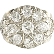 Vintage Forties Diamond 14k White Gold Cluster Ring