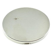 Vintage Sterling Silver Diamond Mirror Compact