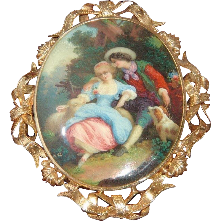 Romantic Antique Victorian Swiss 18k Gold and Enamel Brooch Pendant - Boucher Style