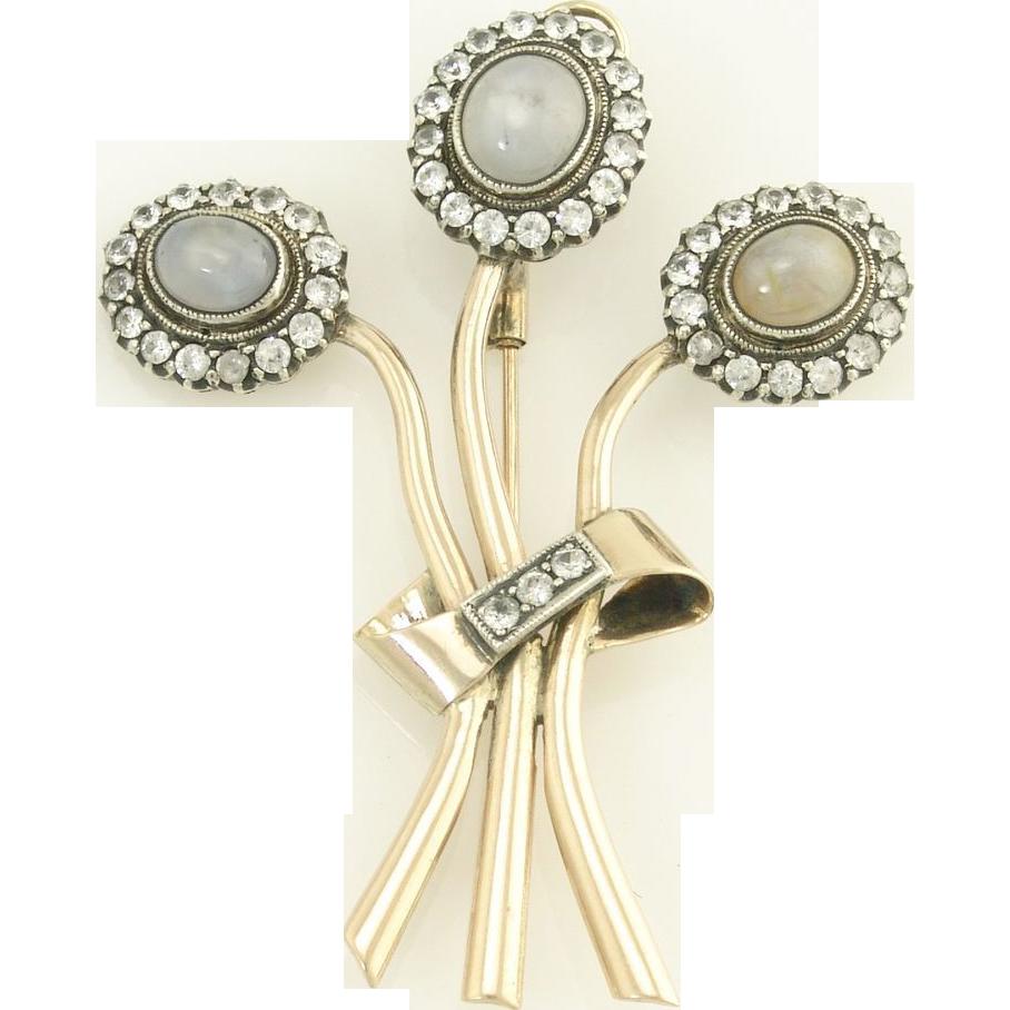Antique Victorian Star Sapphire Mine Cut Diamond 14k Gold Figural Bouquet of Flowers Pendant Brooch