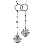 Antique Edwardian French Platinum and Diamond Negligee Pendant Necklace