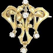 Large Antique Art Nouveau Articulated Mine Cut Diamond 14k Gold Brooch Pin