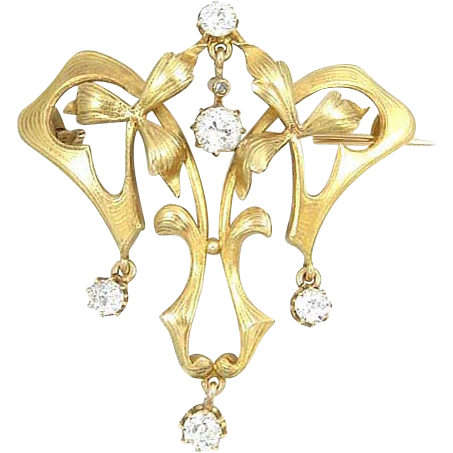 Large Antique Art Nouveau Articulated Mine Cut Diamond 14k Gold Brooch Pin