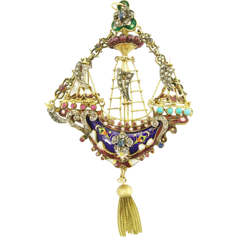 Antique Victorian 14k Gold Diamond Sapphire Ruby Turquoise Enamel Figural Ship Pendant Brooch