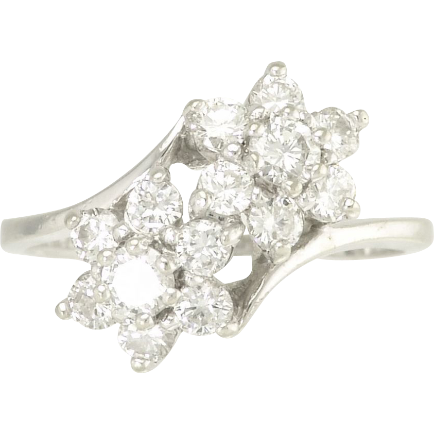 Vintage Diamond 14k White Gold Moi et Toi Double Flower Ring - Video