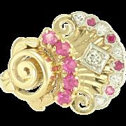 Vintage Retro Diamond Ruby 14k Gold Ring