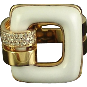 Estate 18k Gold White Onyx Diamond Ring