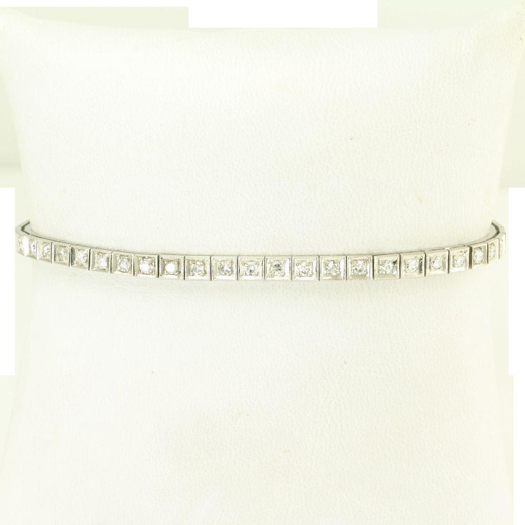 Timeless Vintage Diamond 14k White Gold Watch Band Bracelet