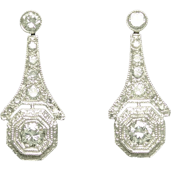 Estate Diamond and Platinum Earrings