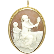 Antique Belle Epoque Shell Cameo 14k Gold Pendant Brooch - Maiden with Mirror