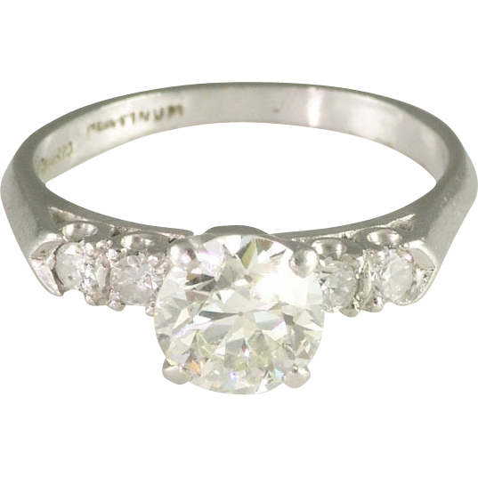 Vintage Thirties Transitional Cut Diamond Platinum Solitaire Engagement Ring - Video