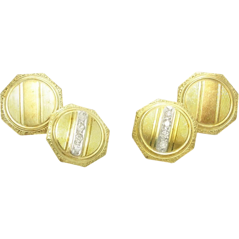 Vintage Art Deco Diamond Platinum 14k Gold Cufflinks