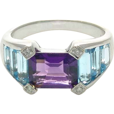 Vintage 18k White Gold Amethyst and Baguette Cut Blue Topaz Ring
