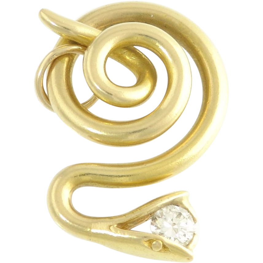 Vintage Diamond 18k Yellow Gold Snake Serpent Pendant