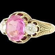 Antique Victorian Pink Sapphire Diamond 18k Yellow Gold Ring