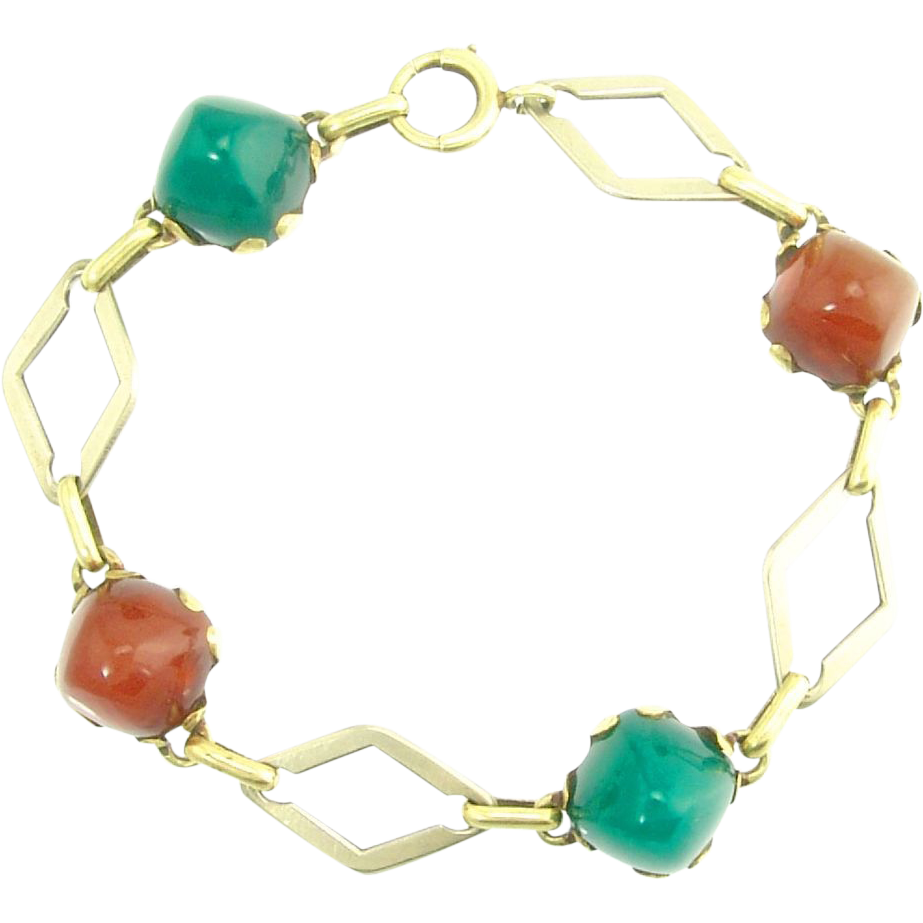 Art Deco Carnelian and Chrysoprase 14k Yellow and White Gold Bracelet