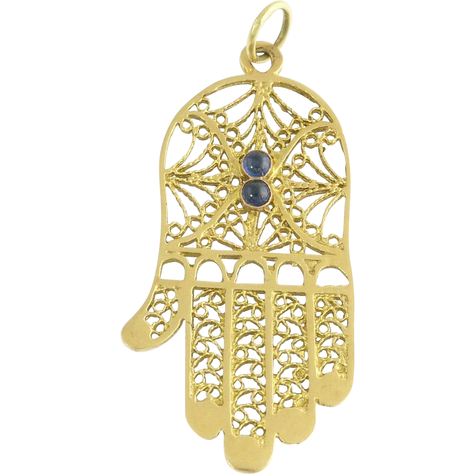 Vintage Cabochon Sapphire and 14k Yellow Gold Figural Filigree Hamsa Hand Pendant Charm